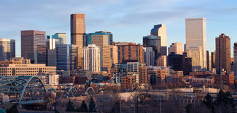 Downtown Denver Skyscrapers. Shot of downtown Denver, Colorado, with Speer bridge in foreground Royalty Free Stock Photography