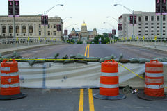 Downtown Des Moines Closed for Flooding. Bridges are closed and sanbagged in downtown Des Moines in anticipation of imminent flooding with the capital building Stock Photo