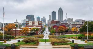 Downtown Des Moines viewed from the Iowa State Capitol. After rain stock photography