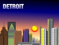 Downtown Detroit. Illustration of down town detroit Royalty Free Stock Photo