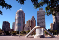 Downtown Detroit Cityscape. A view of downtown Detroit, Michigan...including modern skyscrapers, older buildings, and a fountain in Hart Plaza royalty free stock images