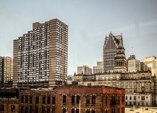 Downtown Detroit Michigan Panoramic Cityscape stock photo