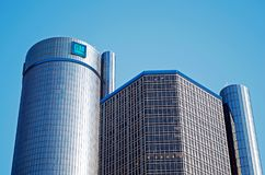 Downtown Detroit with Renaissance Center or GM World Headquarters. DETROIT -JANUARY 26, 2018. GM World Headquarters in the Renaissance Center, Downtown Detroit Royalty Free Stock Photo