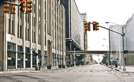 Downtown Detroit. View of abandoned downtown of Detroit, Michigan royalty free stock photos