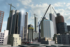 Downtown development. And construction illustration Royalty Free Stock Photo