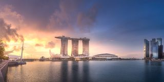 Downtown district and Marina bay in Singapore Royalty Free Stock Images
