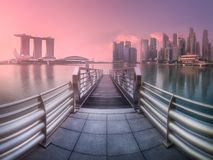 Downtown district and Marina bay in Singapore stock photos