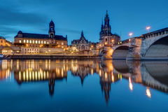 Downtown Dresden and the river Elbe Stock Image
