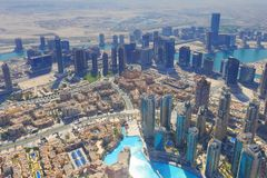 Downtown of Dubai from above. View from Burj Khalifa on a sunny morning royalty free stock images