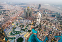 Downtown Dubai aerial view as seen at sunset Stock Photos
