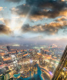 Downtown Dubai aerial view as seen at sunset Royalty Free Stock Photo