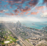 Downtown Dubai from the air. Sheikh Zayed road, skyscrapers and Royalty Free Stock Image
