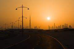 Downtown Dubai at sunset Stock Image