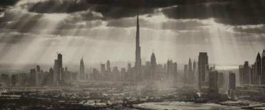 Downtown Dubai city skyline from helicopter - aerial view with b. Acklight, United Arab Emirates stock photo