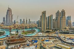 Downtown Dubai cityscape Stock Photos