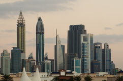 Downtown of Dubai in the evening Stock Images