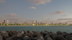 Downtown of Dubai in the evening Royalty Free Stock Photos