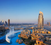 Downtown Dubai with famous dancing water fountain royalty free stock photography