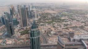 Downtown of Dubai in the morning timelapse after sunrise. Aerial view with towers and skyscrapers. Downtown of Dubai and financial district in the morning stock video