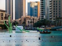 Downtown Dubai fun summer activities around Dubai Mall and Burj Khalifa royalty free stock photo