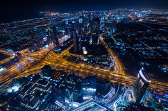 Downtown dubai futuristic city neon lights and sheik zayed road Stock Photography