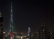 Downtown Dubai National day 2013 Stock Photography