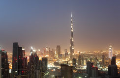 Downtown Dubai at night Royalty Free Stock Images