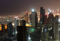 Downtown Dubai at night Stock Photo