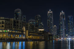 Downtown of Dubai at night Royalty Free Stock Photos