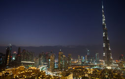 Downtown Dubai night scene. Bustling with activity, featuring Burj Khalifa, the tallest building in the world Stock Photos