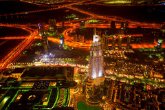 DOWNTOWN DUBAI AT night in UAE  with skycrapers. Night view from  Burj Khalifa, the tallest skyscraper in the world, at 829.8 m Stock Photo