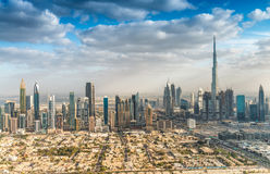 Downtown Dubai skyline aerial view, UAE Stock Photo