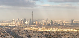 Downtown Dubai skyline from the air Stock Photo