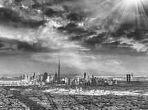 Downtown Dubai skyline from the air Royalty Free Stock Photos