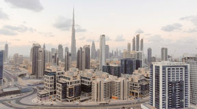Downtown Dubai skyscrapers at sunset, aerial view Royalty Free Stock Photo