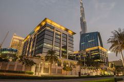 Downtown of Dubai in the sunset Stock Photography