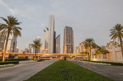 Downtown of Dubai  in the sunset Royalty Free Stock Photography