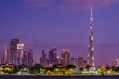 Downtown of Dubai in the sunset Royalty Free Stock Photos