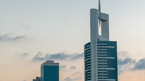 Downtown Dubai towers in the evening timelapse. Aerial view of Sheikh Zayed road with skyscrapers at sunset. stock footage