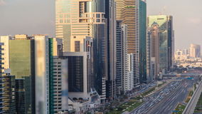 Downtown Dubai towers in the evening timelapse. Aerial view of Sheikh Zayed road with skyscrapers at sunset. stock video