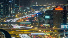 Downtown Dubai towers night timelapse. Aerial view of Sheikh Zayed road with skyscrapers. stock video footage