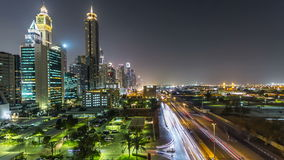 Downtown Dubai towers night timelapse. Aerial view of Sheikh Zayed road with skyscrapers. stock video