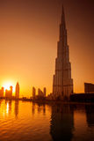 DOWNTOWN DUBAI, UAE  with Burj Khalifa Stock Photography