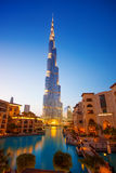 DOWNTOWN DUBAI, UAE  with Burj Khalifa. The Burj Khalifa, the tallest skyscraper in the world, at 829.8 m Royalty Free Stock Image