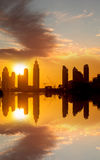 DOWNTOWN DUBAI in UAE  with skycrapers Stock Photography