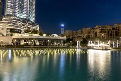 Downtown, Dubai, United Arab Emirates Dubai Fountain Lake Ride tourist attraction, place to visit in uae stock images