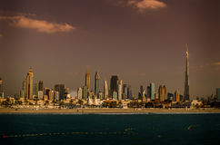 Downtown of Dubai, United Arab Emirates, in the sunset Stock Photography