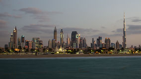 Downtown of Dubai (United Arab Emirates). The view from the beach Royalty Free Stock Image