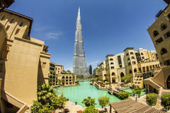 Downtown, Dubai. This is a view of Burj Khalifa - the tallest building in the worlds - taken from so called 'old town'. It's a property build by Emaar, one of