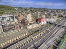 Downtown Duluth and Lake Superior. Duluth and Lake Superior in Summer seen from Above by Drone Stock Photos